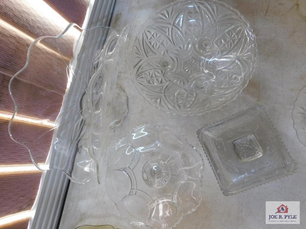 Pressed glass footed candy, glass bowls