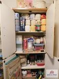 Cabinet w/craft & crocheting items