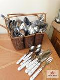 Silverware in basket