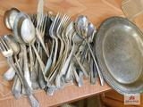 Silver-plate flatware & tray