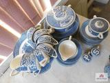 Blue & white dinnerware sugar, creamer, salt, pepper, covered veg