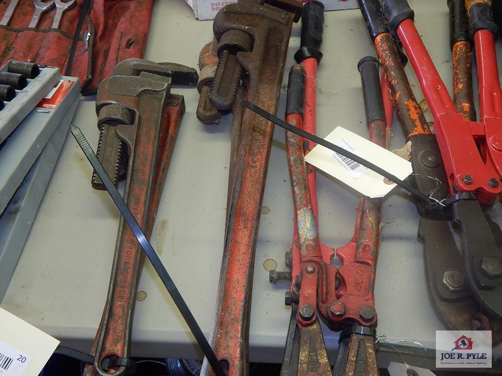 """2 24"""" pipe wrenches"""