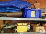 Content of 2 shelves, tarps, electrical wire and testers, etc.