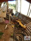 1 lot of misc. scraps steel, wire, saw horse, bolt, etc.