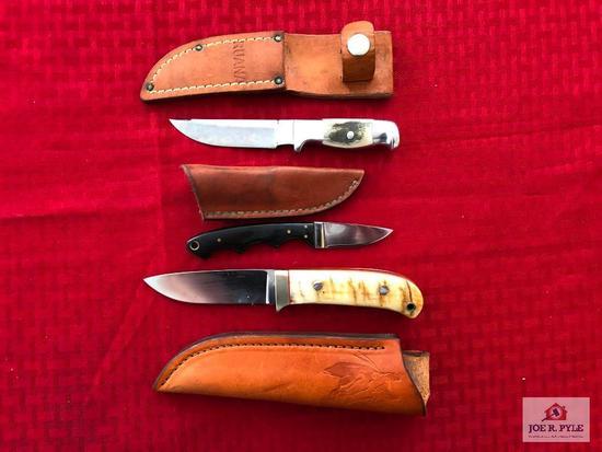 Lot of 3 custom knives: Ruan, Kubaiko, Downing
