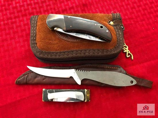 Lot of 3 Browning knives: pocket knife, skinning knife, Collector's edition Model 121