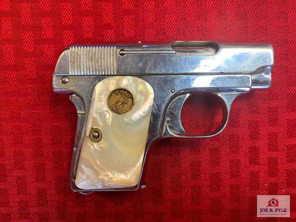 Colt Automatic Pistol Nickel .25 ACP | SN: 76729 | Comments: PEARL GRIPS