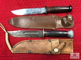 Lot of 2 US-issued Utility Knives: (1) Kinfolks, (1) Remington PaL RH 36