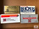 Flat of 4 boxes of .375 Win ammo (new and vintage)