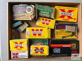 Flat of various vintage ammo: .25-20, .222, .32-20, .22s, .401 Win, .380 ACP, .44 S&W, .375 Mag, .35