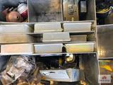 Aluminum tackle box and contents (reels, lures, etc. ) + black steel trunk