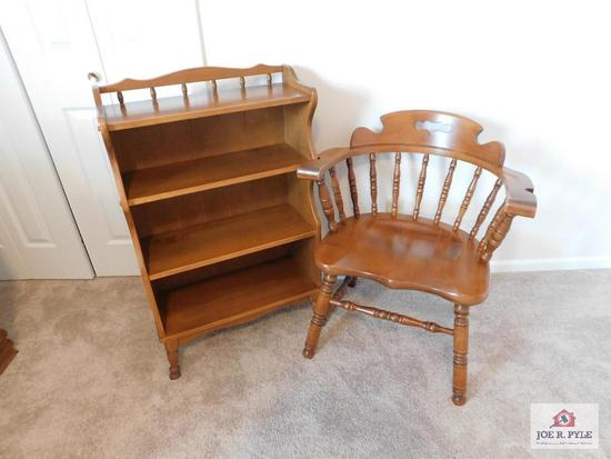 Maple bookcase & chair