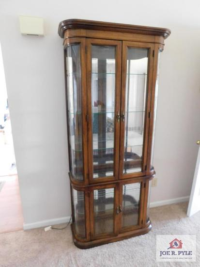 Carved glass lighted curio