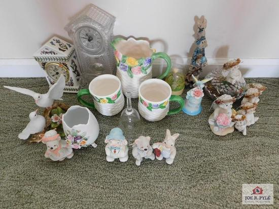 Ceramic pitcher, cups, small bowl, crystal clock& dove statue