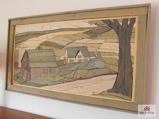 Puzzle cut wood framed picture