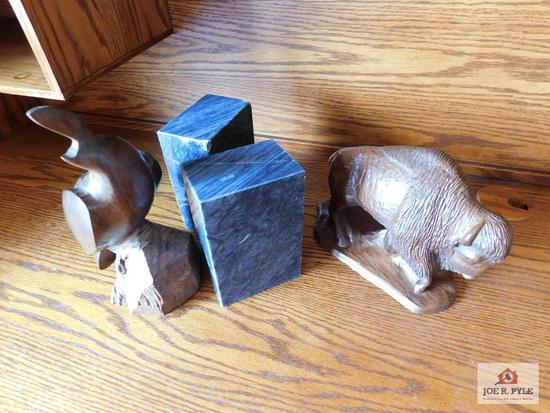 Marble bookends, carved quail & hand crafted buffalo