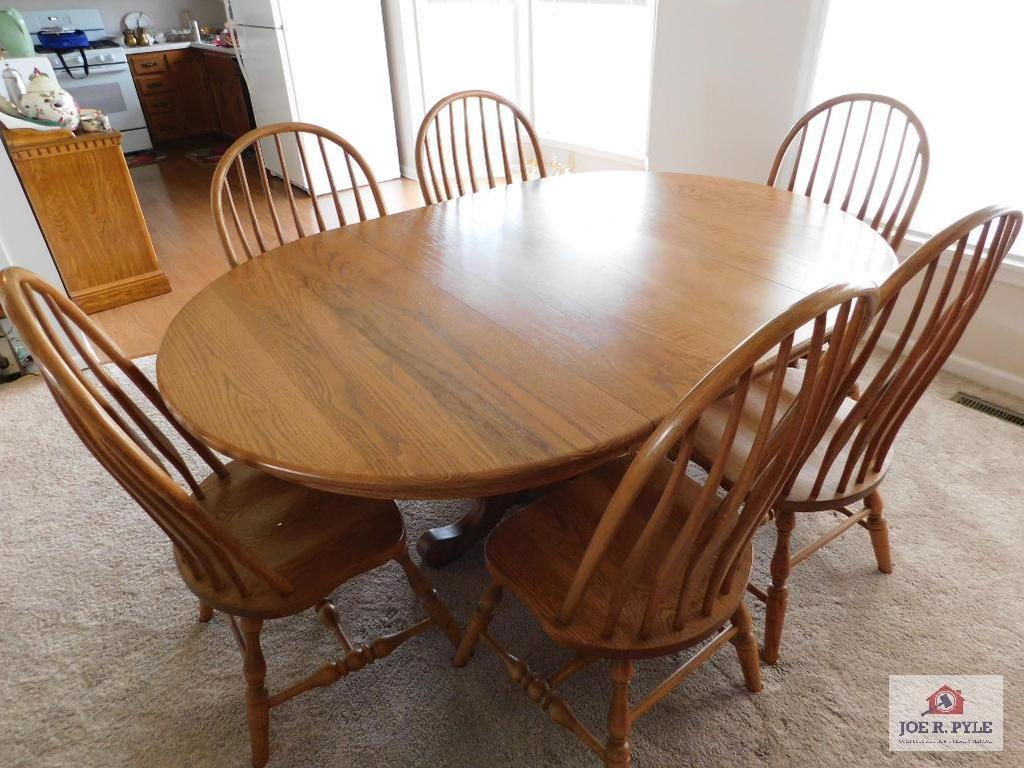 Top quality oak pedestal table & 6 chairs