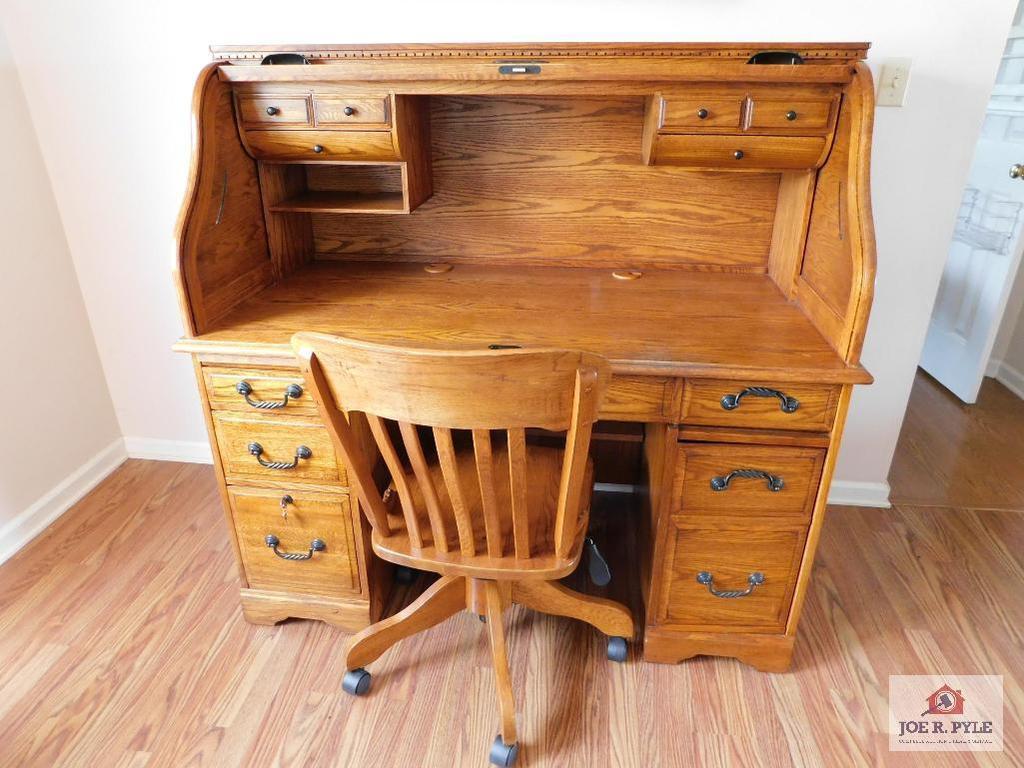 Modern oak roll top desk and chair