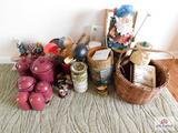 Cannisters, Basket, knives,, kitchen utensils