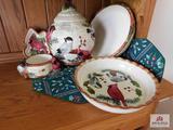 Cardinal cookie jar, pie plate & bowls