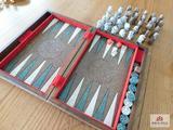 Boxed chess backgammon set