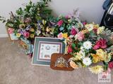 Floral arrangements, sewing box, framed prints