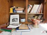 Vintage & new cookbooks, copper strainer