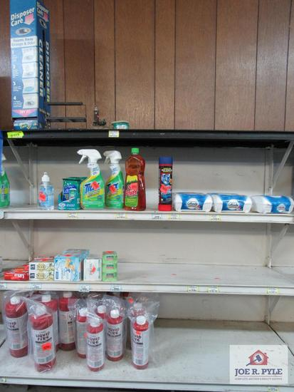 4 ft section of bathroom cleaner, soap, liquid fire, etc.