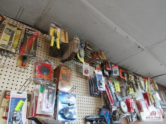 misc. hardware locks, drill bits, screwdriver, tape measures, etc.