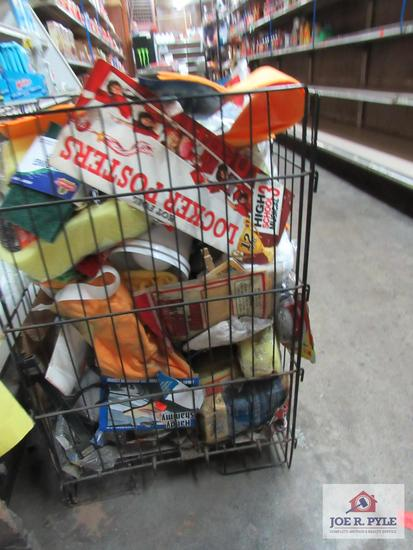 wire basket full of cleaning supplies, sponges, shammy's etc.