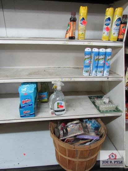4 ft section of cleaning supplies, pledge, air fresheners, etc.