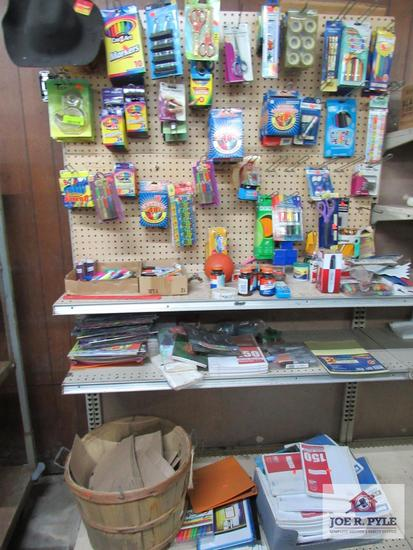4 foot section of school and work supplies