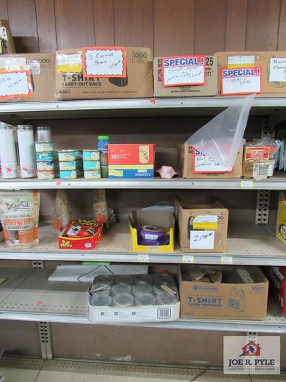 4 foot section of cat and dog food, canning jars, etc.