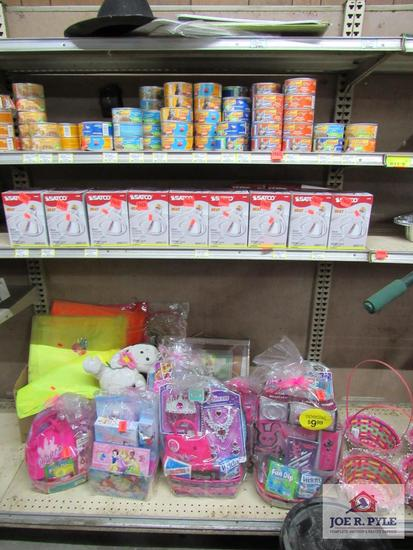 cat food approx. 85 items and lightbulbs, Easter baskets, etc.