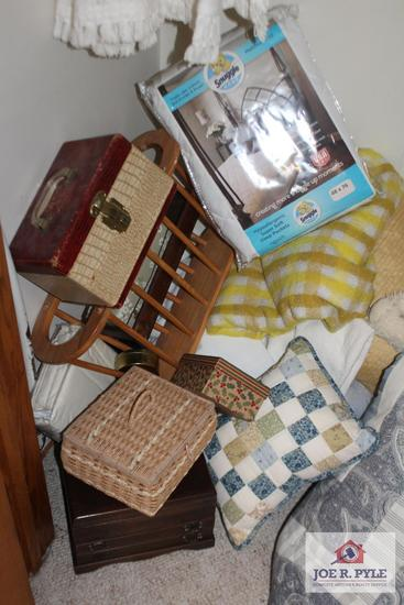 All Contents of Closet including Blankets, Quilts, Jewelry Boxes, Comforters, and Decorative Pillows