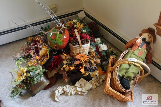 Fall Decorations including Flowers, Baskets, Scarecrow, and Wreath
