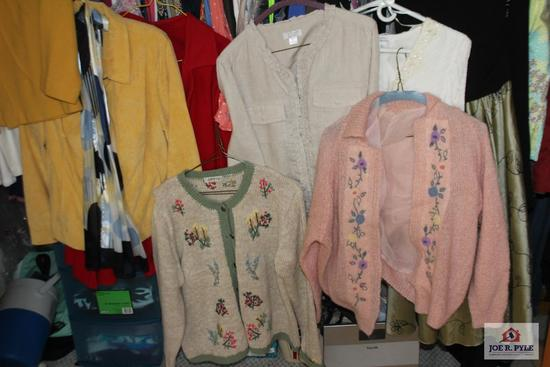 All Women's Closet Contents including Sweaters, Jeans, Shirts, Shoes, Belts and Scale