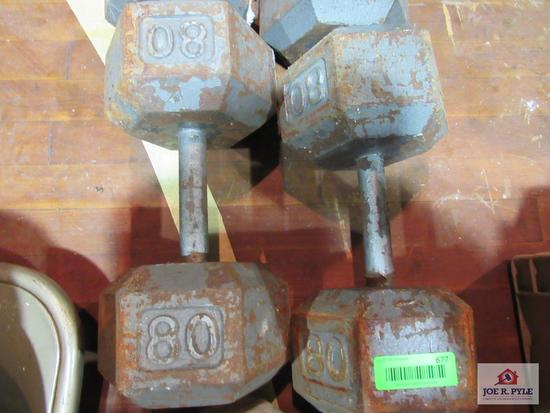 Set Of 80Lbs Dumbell