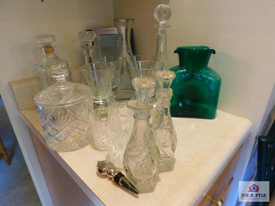 Pressed glasses, cruets, decanters