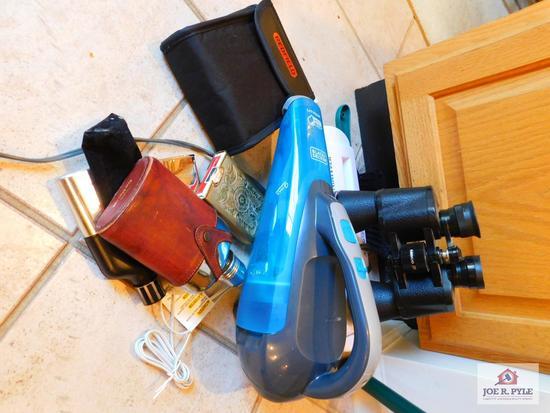 Black & Decker handvac, Tasco binoculars 10x50mm & flask