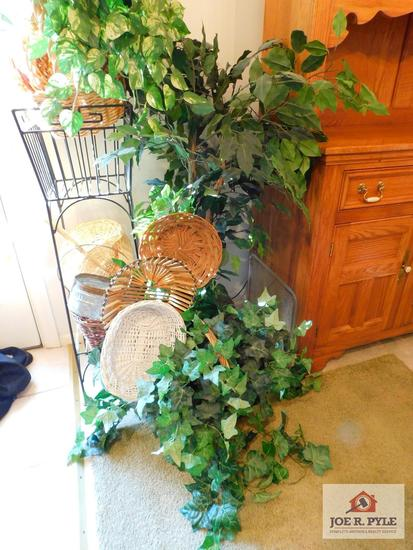 Group of baskets, plant stand & greenery
