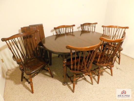Ethan Allen pine table & 6 chairs with 3 leaves
