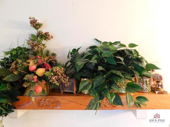 Group of greenery & brass planters