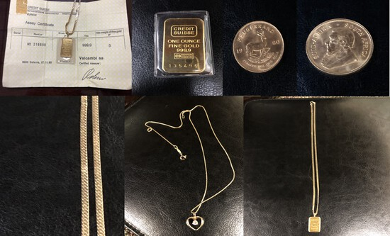Gold Coins & Bars, Jewelry, Household Items & more