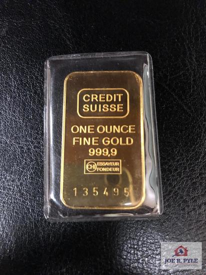 Credit Suisse Gold Bar 1 OZ. No. 135495
