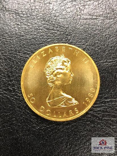 Canadian Gold Maple Leaf 1 OZ.