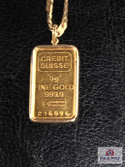 Credit Suisse Gold Bar 5 Gram No. 216696 with Unmarked Necklace
