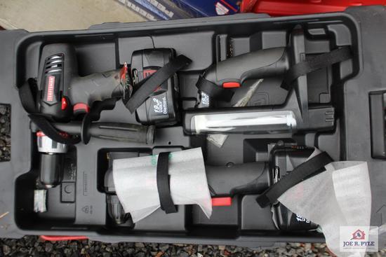 Craftsman rolling toolbox w/drill, light, angle drill, jigsaw, Sawzall, circular saw, battery