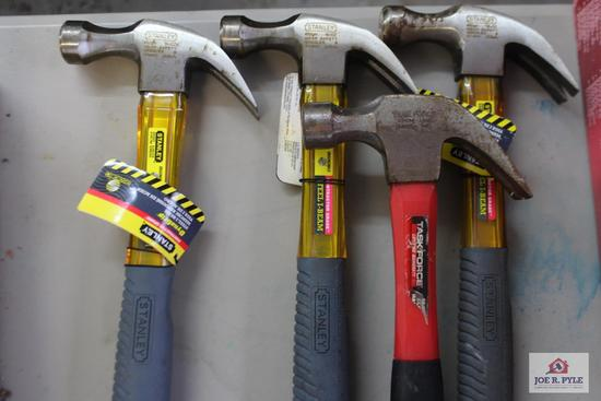 4 Hammers, 2 Stanley ratchets with assorted sockets