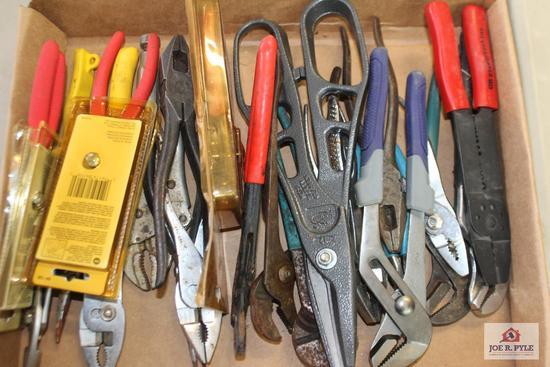 Assorted pliers, channel locks & sidecuts